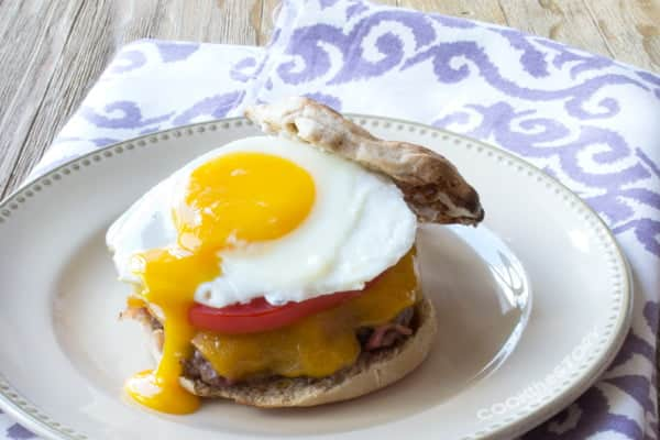 A burger recipe where bacon is mixed right in with the beef to form the burger patty. Amazing, right? Topped with an egg, it's breakfast for dinner!
