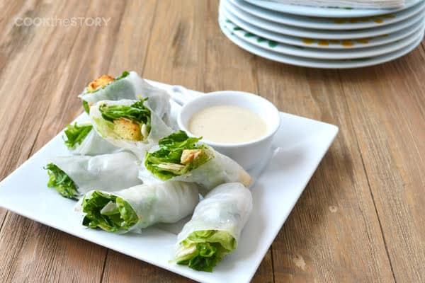 Caesar Salad Spring Rolls: A fun way to have caesar salad as a finger food at your next party. Great for baby and bridal showers and stand up lunches and barbecues. By @cookthestory