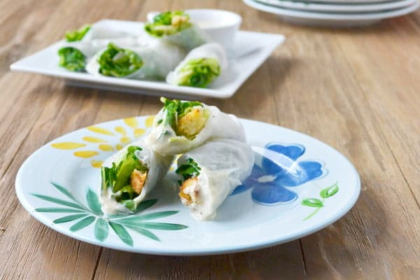Caesar Salad Spring Rolls Recipe - A healthy, vegetarian appetizer or lunch box meal that's fun to eat.