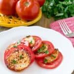 Caprese Salad with Crispy Mozzarella from www.cookthestory.com