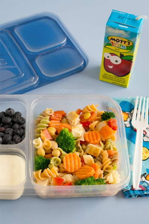 Kid's Lunch Box Pasta Salad Recipe - This healthy pasta salad can be made ahead and frozen. Then toss it into the lunch box and it'll thaw out by lunch time.