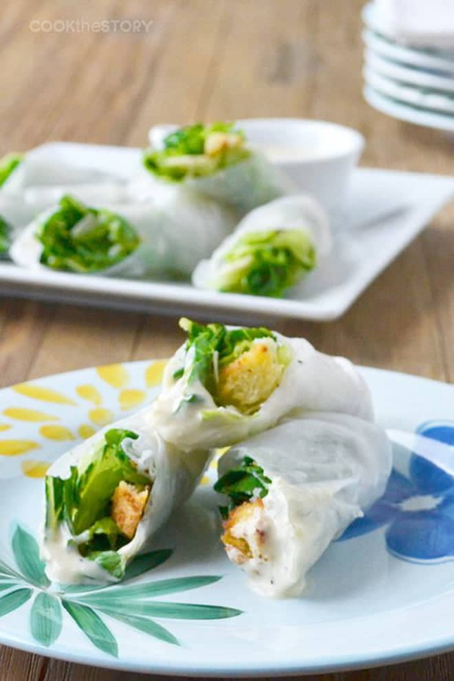 This Caesar Salad Summer Rolls recipe turns the classic Caesar salad into a fun finger food. They're a perfect appetizer recipe, or you can pack them into a lunch box.