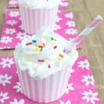 Cupcake Milkshake Recipe - Little milkshakes that look and taste like cupcakes. Perfect for a child's birthday party dessert!