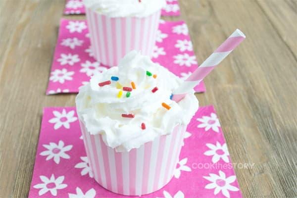 Cupcake Milkshake Recipe - Little milkshakes that look and taste like cupcakes. Perfect for a child's birthday party dessert!