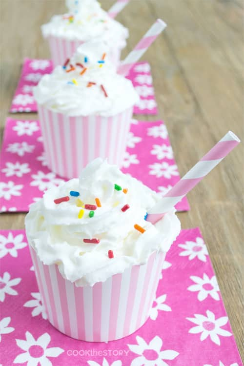 Cupcake Milkshakes (little shakes that look and taste like little cakes) by www.cookthestory.com