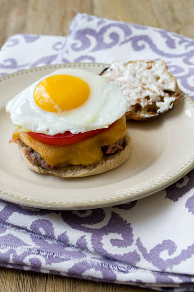 This burger recipe has...wait for it...bacon mixed right in. And there's a fried egg on top. I know, exciting right.