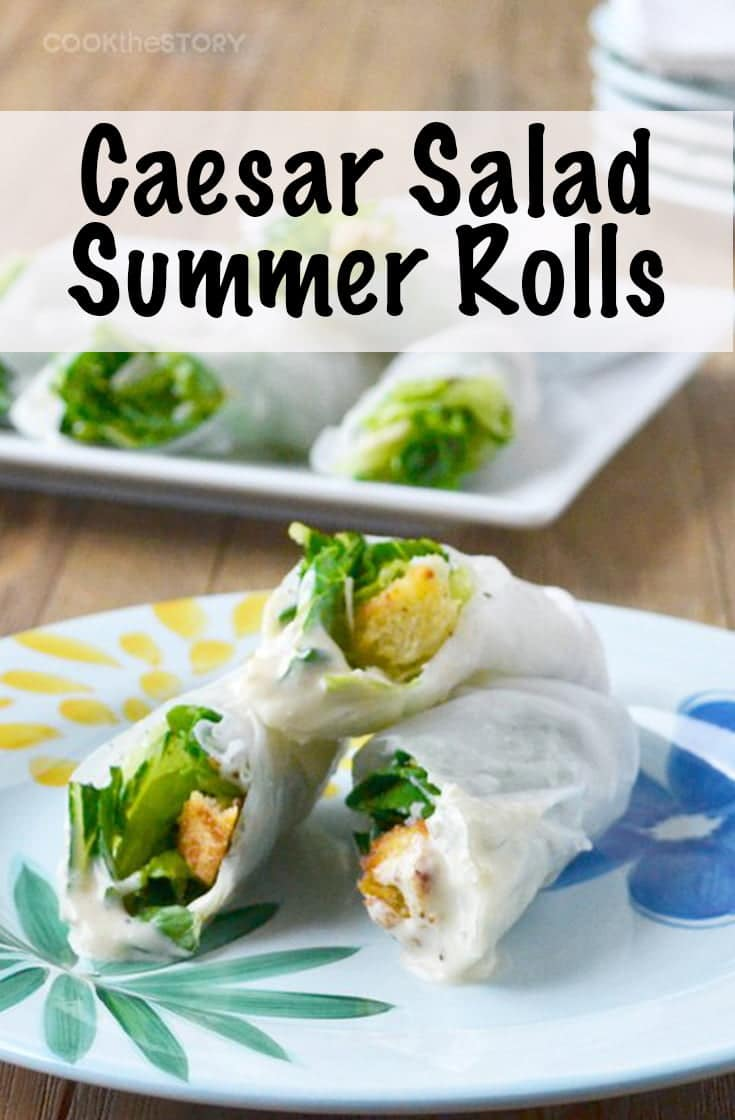 Want a great vegetarian recipe for parties? This Caesar salad summer rolls recipe is a fun way to serve Caesar salad and they can be made ahead. #salad #vegetarian #appetizer #caesarsalad