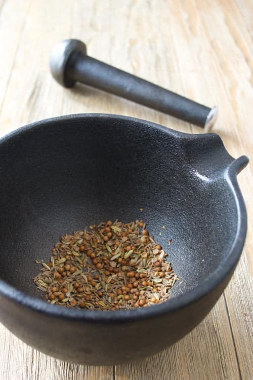 Freshly toasted ground cumin, coriander and fennel seed, destined to be added to turkey burger patties. Yum!