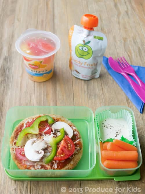 Pizza Bento Box Lunch, an easy and healthy lunchbox idea by @cookthestory for @produceforkids