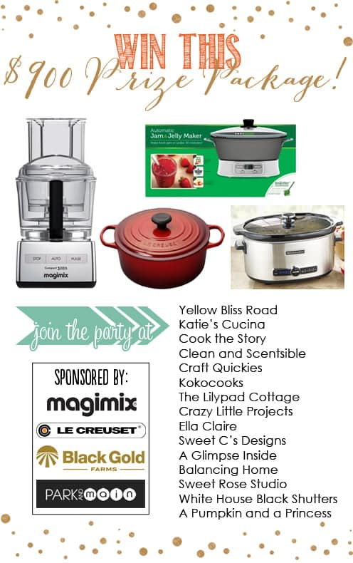 Comfort Recipes Giveaway: a 12-cup Magimix, 6 Quart Slow Cooker, Le Creuset Dutch Oven and Ball Jam/Jelly Maker, total value $904. September 2013.