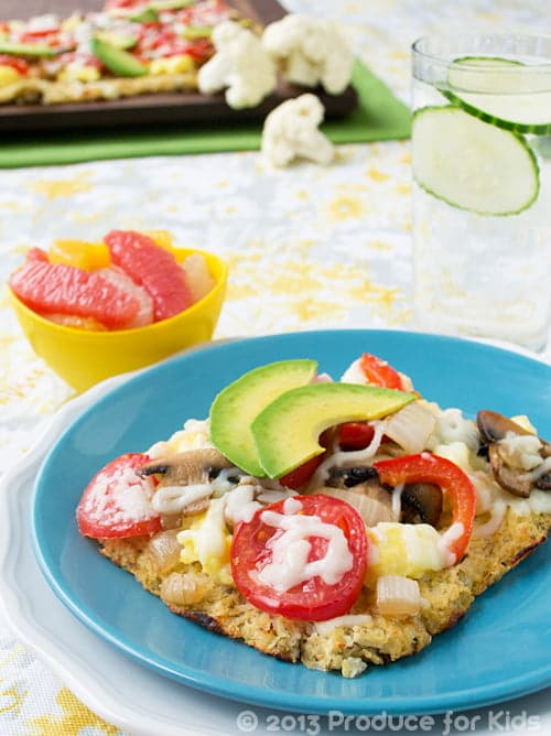 Cauliflower Breakfast Pizza, one of the easy and healthy breakfast recipes from @ProduceForKids