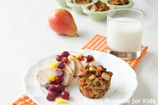 Balsamic Chicken with Stuffing Muffins and Cranberry Pipneapple Sauce with @ProduceForKids