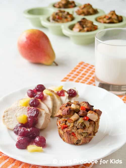Balsamic Chicken, Stuffing Muffins and Homemade Cranberry Sauce with Pineapple, an easy and healthy holiday meal you can even make on a weeknight.