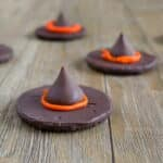 Two-Ingredient Easy Halloween treat recipe for Chocolate Witches' Hats. So easy, a 5-year old shows you how to make them!