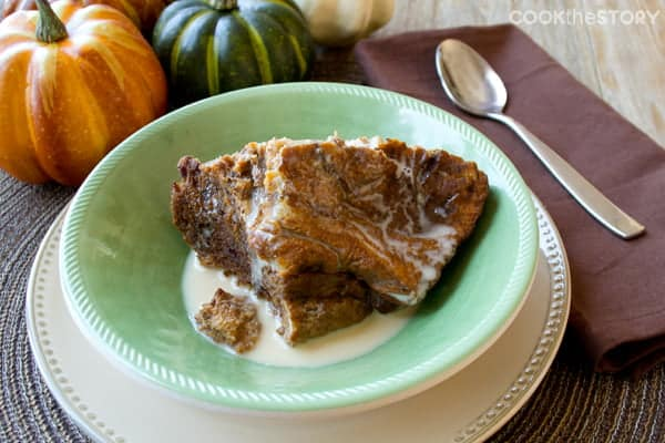 A breakfast slow cooker recipe for Pumpkin Bread Pudding