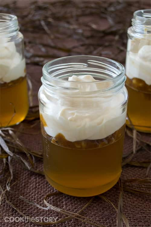 Homemade Apple Jello with Caramel Crème Fraîche in Jars. A delicious Fall dessert recipe or afternoon snack recipe.