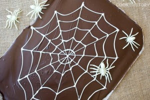 Two-Ingredient Spider's Web Halloween Chocolate Bark - This spooky Halloween treat is as fun to make as it is to eat. Perfect for a kid's classroom party!