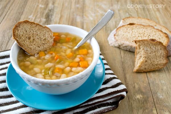 13 Bean Soup Recipe Topped with Garlic Manchego Toast