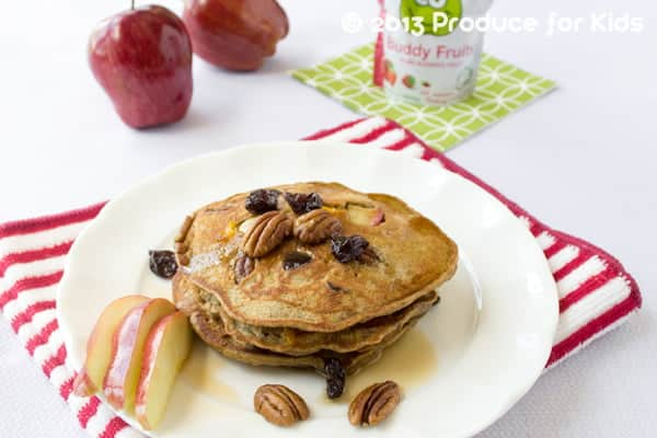 Nutty Apple Pancakes - This breakfast recipe is a family favorite. Easy enough to make even on busy weekdays, too!de ahead, frozen and hte popped in the toaster on busy mornings.