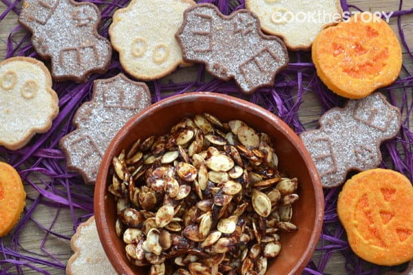 A Recipe from the Halloween Edition of the free Foodie recipe app: Maple and Pumpkin Pie Spice Roasted Pumpkin Seeds