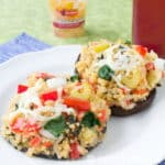 Cheesy Quinoa Stuffed Mushrooms. A quick and easy, hearty vegetarian dinner.