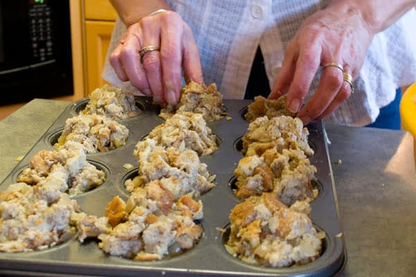 This stuffing recipe is cooked in a muffin tin. This is what makes it the best stuffing recipe.