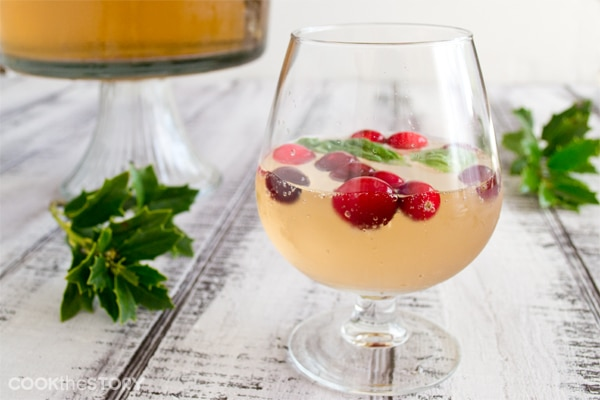 Best Champagne Punch Recipe with Ginger Ale Orange Liqueur, Cranberries and Basil