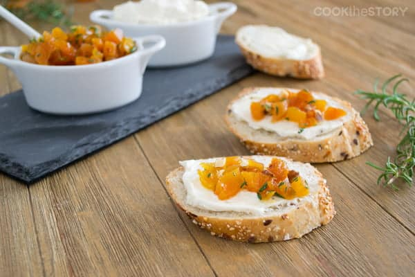 Easy Appetizers for a Crowd: Build Your Own Canapés with Lemon Pepper Cream Cheese and Apricots with Rosemary and Maple. #appetizers #CreamCheese