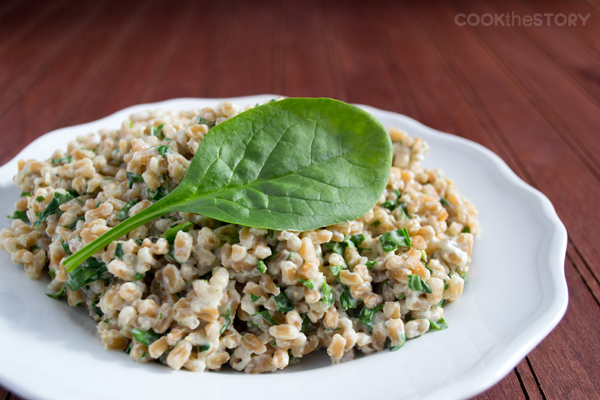 A simple farro recipe with cream c heese and spinach