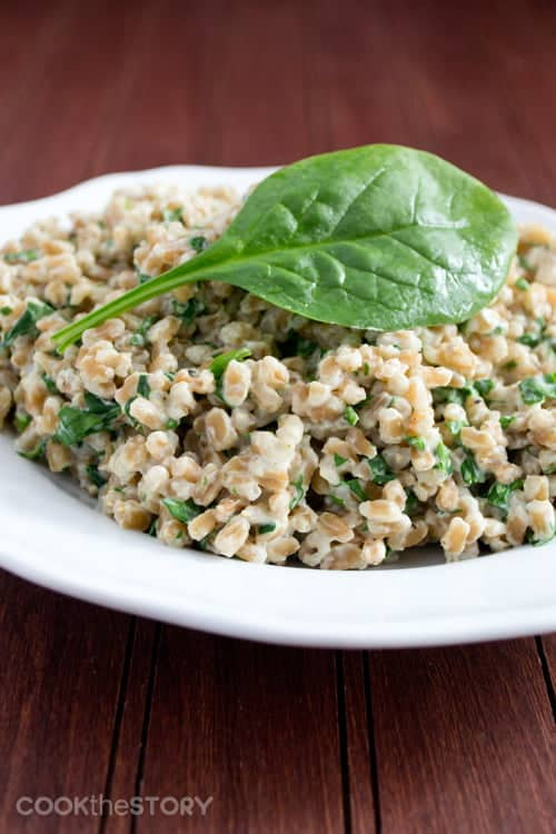 Creamy farro and spinach in a white bowl with a large spinach leaf on top.