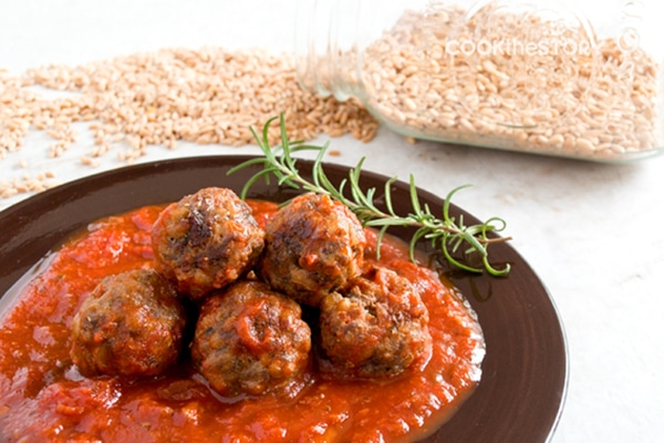 Tasty Meatball Recipe with Farro and Rosemary
