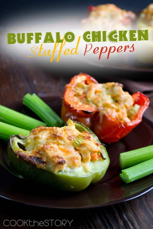 These buffalo chicken stuffed peppers are the best stuffed peppers I've ever had. So much flavor and so quick to make. Win-win!