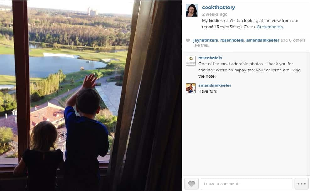 My kiddos checking out the view from our Rosen Shingle Creek Hotel Room