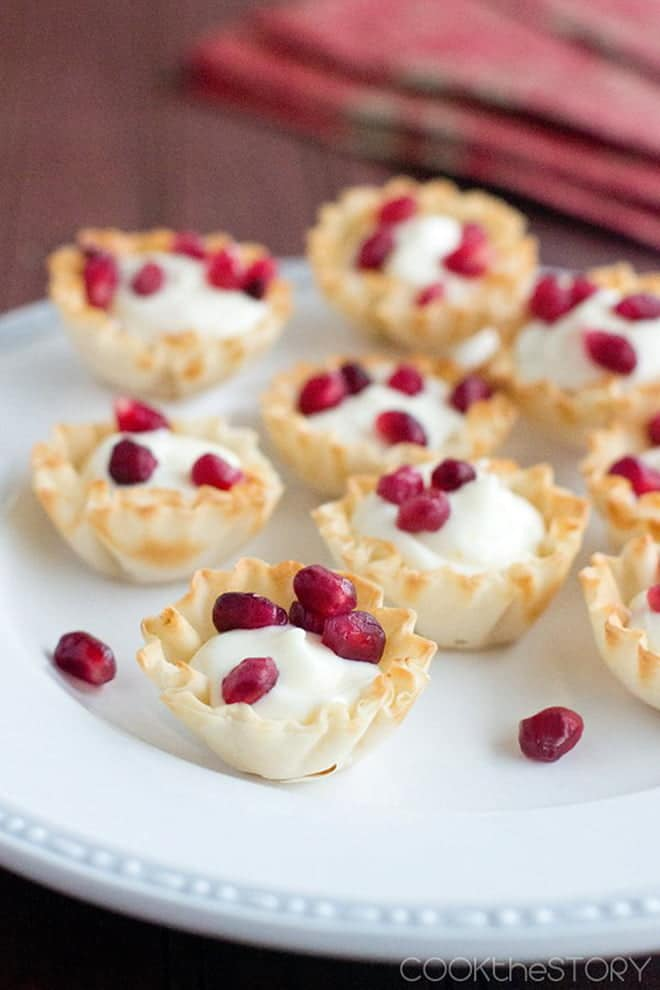 With only 6 ingredients, these easy little cheesecake cups are a breeze for your holiday tray. And they're so pretty too!