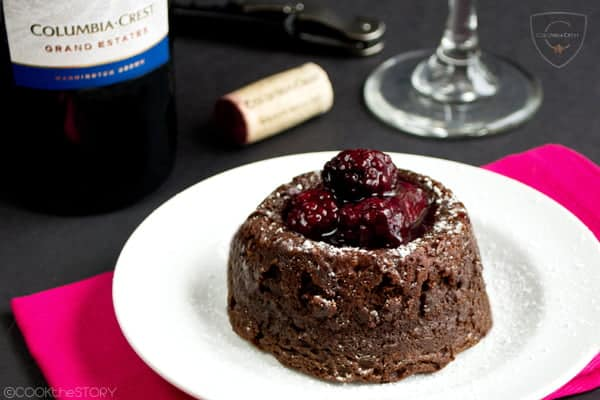 Molten Chocolate Lava Cake with Blackberry Wine Sauce - A romantic dessert for two, paired with a delicious red wine - Get the recipe at COOKtheSTORY.com