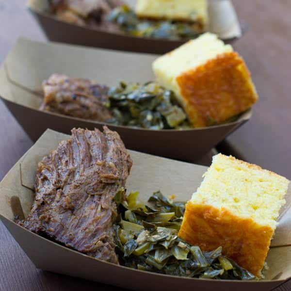 Smoked Beef Brisket with Collard Greens and Jalapeno Corn Bread at The Smokehouse at the Epcot Flower and Garden Festival 2014