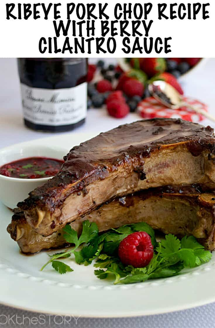 A pan-seared pork chop recipe with a berry-dijon glaze and a berry-cilantro dipping sauce. Easy to make but tasty enough for company and entertianing. The pork is so juicy and tender. #dinner #dinnerrecipe #pork #porkrecipe #berries #partyfood
