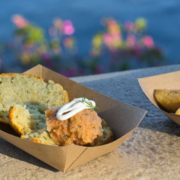 Baked Potato and Cheddar Cheese Biscuit with Smoked Salmon Tartare at the Buttercup Cottage at the Epcot Flower and Garden Festival 2014