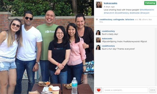 At the Epcot Flower and Garden Festival 2014 captured on @kokocooks instagram feed. Left to right: @Marysiri, @dafoodie, @marvinrm, @kokocooks, @thelittlekitchn and me (@cookthestory)