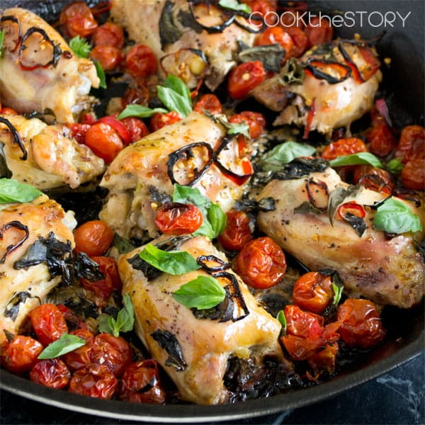 Easy Baked Chicken with Tomatoes, Basil and Red Chillies