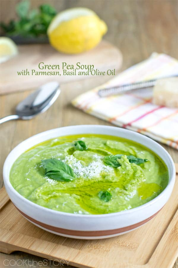 Green Pea Soup with Olive Oil and Basil