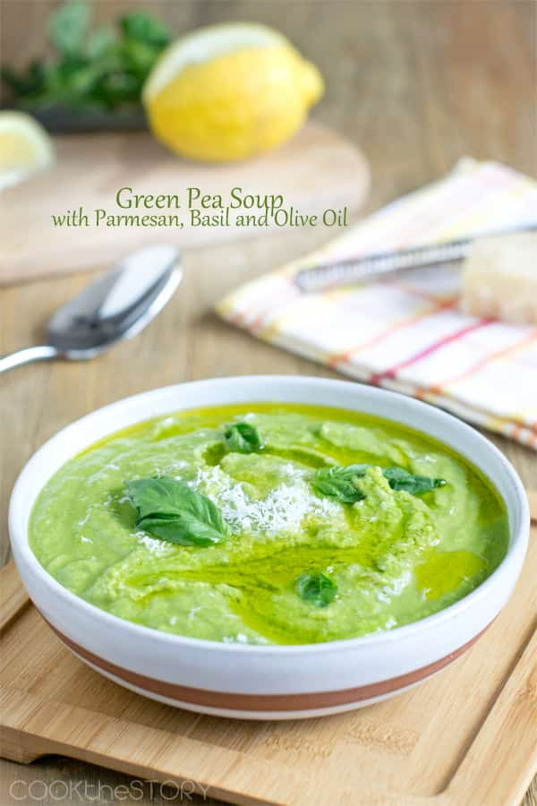 Today's Green Pea Soup recipe is a really quick soup that's ready in under 15 minutes. And it's soooo good, with the fresh flavor of green peas, basil, lemon and then a touch of olive oil and parmesan cheese for richness.