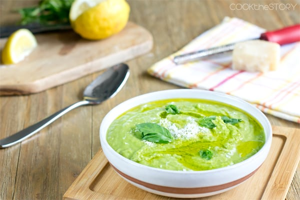 Green Pea Soup Recipe with Basil and Parmesan
