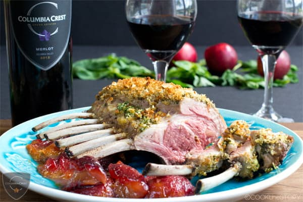 Rack of Lamb with Mint and Basil Pesto Crust served with Roasted Plums