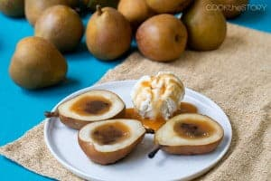 Grilled Pears Filled with Caramel and Chocolate Sauce