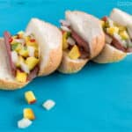 Hot Dog Sliders with Peach and Vidalia Topping