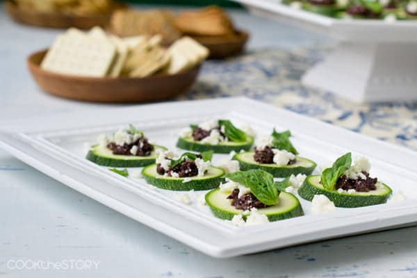 Easy Zucchini, Tapenade and Feta Bites