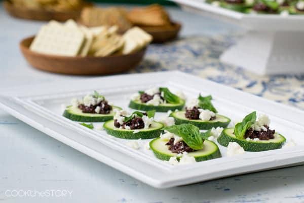 Easy Zucchini, Tapenade and Feta Bites