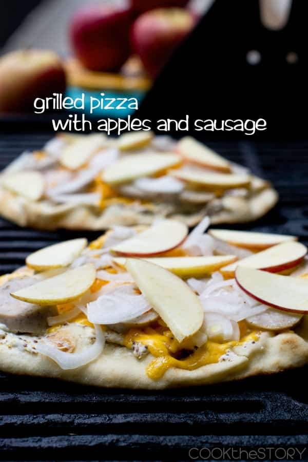 Grilled pizza with apples and sausages