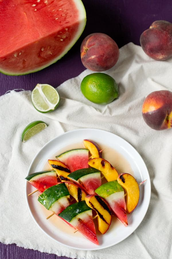 grilled peach and watermelon kebabs - cookthestory.com